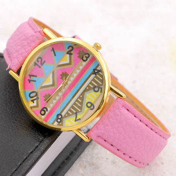 Pink Leather Geometric Wave Watch Women Dress Quartz Watches + Gift Box