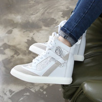 Lace-up sport sequined high heel sneakers