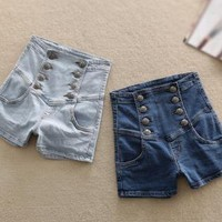 Womens Summers Vintage Style High Waisted Denim Shorts