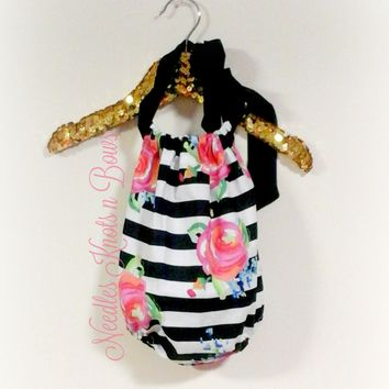 Floral Stripe Romper, Girls Boho Rompers, Baby Girls Floral Romper