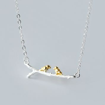 Two birds standing on the branch, 925 Sterling Silver necklace ,a perfect gift