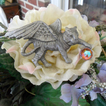 Vintage AJC Tiger Brooch Unusual Pewter Charming Cat Gift
