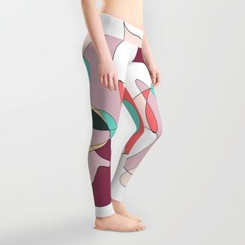 Abstract 1 (white) Leggings by DuckyB (Brandi)