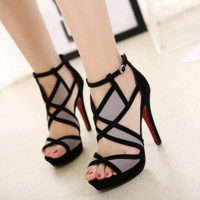 Women's Fashion Sexy Stripe Leather Geometric Fish Mouth Fine High Heel Shoes