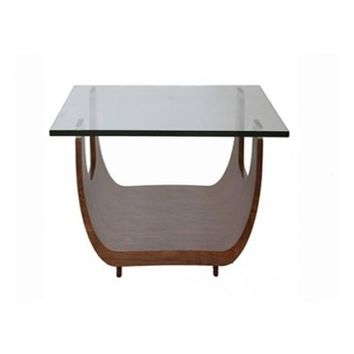 "Whiteline Saly Walnut Veneer Base 1/2"" Tempered Clear Glass Top Side Table"