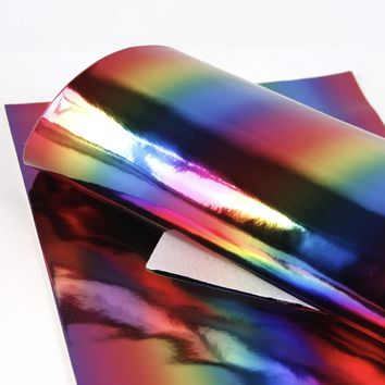 Metallic rainbow ombre smooth faux leather fabric sheet