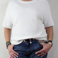 Nice Banana Republic White Sweater L size New Short Sleeve & Stretch To Textured Knit