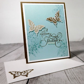 Thank You Card, Handmade Greeting Card, Butterflies, Elegant Thank You Card, Brown and Turquoise, Hand Stamped,