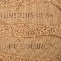 Run! Zombies Are Coming Custom Sand Imprint Flip Flops