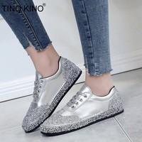 TINO KINO Women Lace Up Flat Autumn Vulcanize Shoes Ladies Crystal New Bling Casual Shoes Female Fashion Comfort Footwear