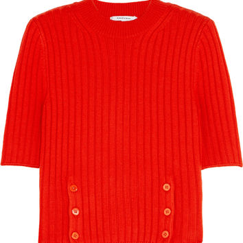 Carven - Cropped ribbed merino wool-blend sweater