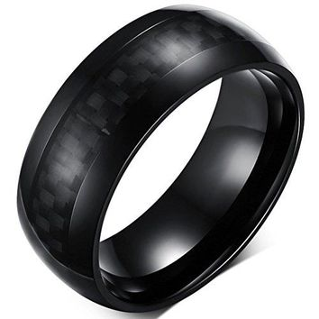 8mm Titanium Stainless Steel Black Carbon Fiber Inlay Vintage Wedding Ring Engagement Band High Polished Domed Design