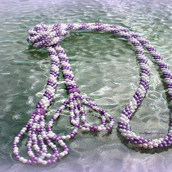 Lariat bead crochet tasseled necklace ,1920, Victorian, Tassle, fringe, Direct Checkout, Ready to Ship