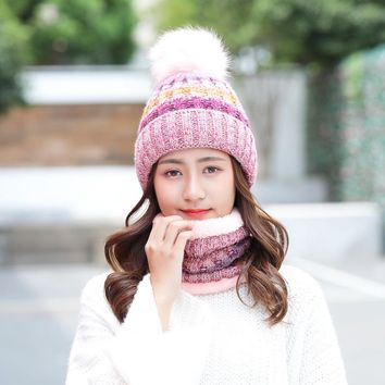 woman winter tide plus velvet cap sweet  lovely lady collar two pc sets warm knitted wool ball hat scarf girl thick plush beanie