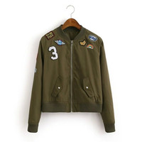 2016 spring autumn green jacket bomber jacket military appliques embroidery varsity jacket coat cardigans chaqueta mujer C6510