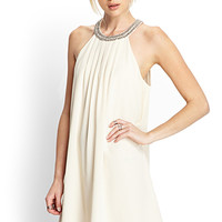 FOREVER 21 Beaded Chiffon Shift Dress Cream Medium