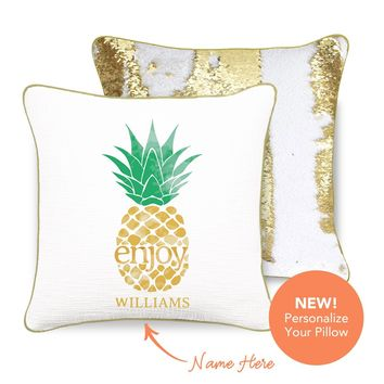 ENJOY Pineapple Mermaid Pillow w/ Gold & White Sequins
