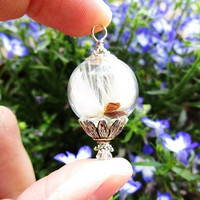 Wishing Wisp Glass Orb & Silver Daisy Terrarium Necklace, Small Orb In Silver or Gold, Bridesmaid Gifts, Hipster Jewelry