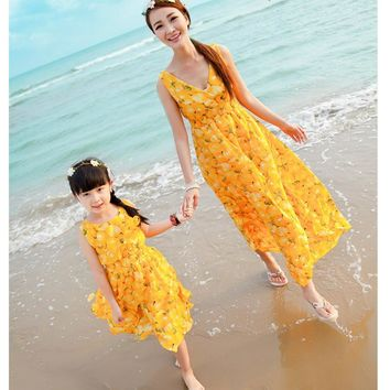 New Mom Daughter Dress Matching Mother Daughter Dresses Family Fitted Mae E Filha Roupa Mae E Filha Vestidos Family Look CE936
