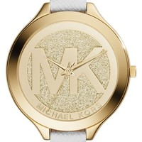Women's Michael Kors 'Slim Runway' Leather Strap Watch, 42mm