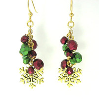 Gold Snowflake Earrings, Green and Red Earrings, Beaded Christmas Earrings, Snowflake Jewelry, Holiday Fashion Earrings, Christmas Jewelry