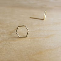 Sterling or 14k Gold Stud Earrings - Tiny Studs - Minimalist - Wire Wrapped Earrings - Hexagon Earrings - Geometric - Delicate Earrings