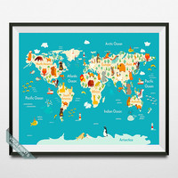 Animal World Map Print, World Map Poster, Animal Map, Wall Art, Nursery Room Decor, Playroom Decor, Children Room Art, Back To School