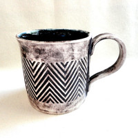 Chevron Coffee Mug, Large Ceramic Tea Cup, Midnight Blue 16 oz, hand crafted