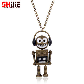 Vintage bronze long Necklaces & Pendants Robot statement choker necklace women men fashion jewelry Shijie bijoux collier femme