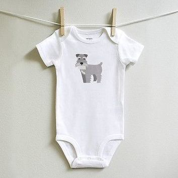 Schnauzer Baby Bodysuit for Baby Boy or Baby Girl, Long or Short Sleeve, 3,6,9,12 Months