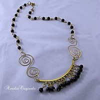 Antiqued Brass and Black Glass Bead Handmade Chain and Matching Focal
