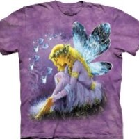 The Mountain Purple Winged Fairy Fantasy Short Sleeve Tee T-shirt