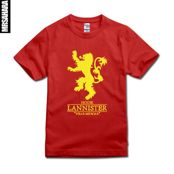 Game Of Thrones Hear Me Roar House Lannister golden lion Mens Womens top tee T Shirt