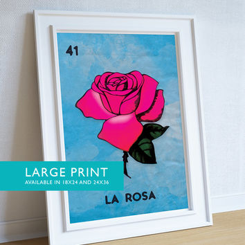 Loteria La Rosa Mexican Retro Illustration Art Print 18x24, 24x36 Vintage Giclee Poster Wall Decor on Cotton Canvas and Satin Photo Paper