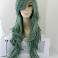 ON SALE // Jade Green / Long Straight Wavy Layered Wig Full Durable Heat resistant synthetic wig for daily use or cosplay