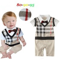 2017 Summer style Baby Clothes Baby Gentleman Boys Bodysuits Boys Clothes Baby Rompers kids clothes kids rompers 3pcs/lot Hot