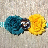 NFL Jacksonville Jaguars inspired headband- perfect for football season!  Jacksonville Jaguars Baby Headband, Jacksonville Jaguars Girl