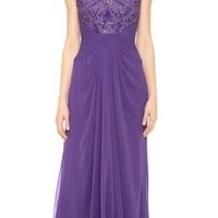 Embroidered Jewel Neck Draped Gown