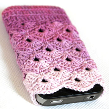 iPhone 5 / 4 / 4S / Case . Phone accessoirs . Pink Colorful / Handmade crochet