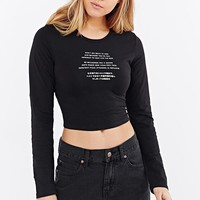 Truly Madly Deeply Translations Fitted Cropped Top - Urban Outfitters