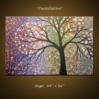 Amy Giacomelli Original Large Abstract Painting Modern Contemporary Trees ... 24 x 36 .. Constellations