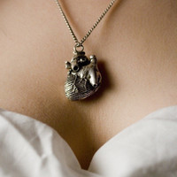 Anatomical Heart Necklace in antique silver on a 24 inch  Chain (Original Design & Made in NYC) tiwib