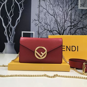 Fendi Wome's Leather Chain Shoulder Bag