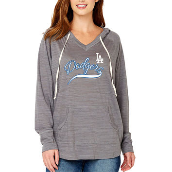 Women's Soft As A Grape Charcoal Los Angeles Dodgers Third Strike Tri-Blend V-Neck Pullover Hoodie