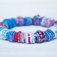 Beaded Bracelet, 100% Handmade/ Fabric Textile Beads on Stretch Elastic