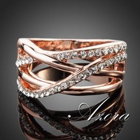 AZORA Classic 18K Rose Gold Plated Transparent Stellux Austrian Crystal Ring TR0088