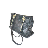80s black patchwork leather oversized tote bag / bucket bag chain strap purse