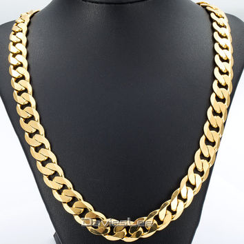 Davieslee 18-36INCH 12MM CUT CURB CUBAN Chain Necklace Mens Chain Womens Chain Gold Filled Jewelry Party Daily Wear DLGN270