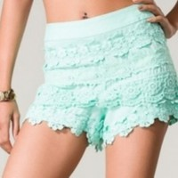 Womens Crochet Lace Side Zip Shorts
