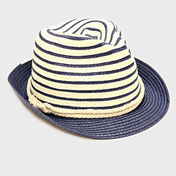 Womens Navy Blue Two Tone Straw Fedora Hat Nautical Rope Band Accent Beach, Pool, Vacation, Summer Hat